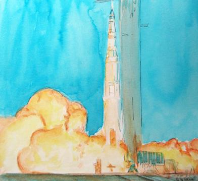 Lanzamiento del Apolo XI el 19 de julio de 1969 © Jose Vicente SantamarIa Gouache Aerografia Airbruhs Acuarela Watercolor