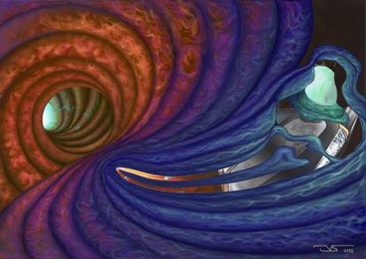 Ilustracion digital Surcando ediciona 10ª edicion 2012 Huida de Nibiru © Jose Vicente Santamaria - Valencia