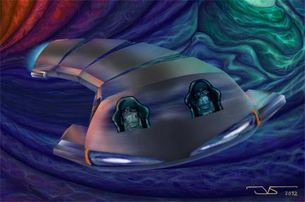 Ilustracion digital Surcando ediciona 10ª edicion 2012 Huida de Nibiru © Jose Vicente Santamaria – Valencia