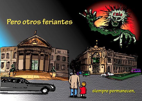 Un padre y su hija frente al palacio de lod diputados y el banco de España