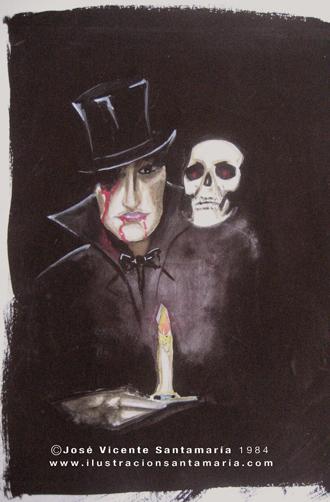 Boceto color lustracion Dracul 1984 © Jose Vicente Santamaria Valencia Spain
