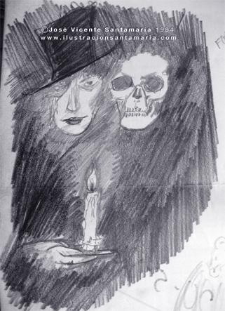 Boceto grafito lustracion Dracul 1984 © Jose Vicente Santamaria Valencia Spain