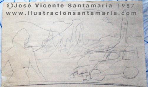 A MAL TIEMPO Boceto ilustración tradicional © Jose Vicente Santamaria Valencia Spain