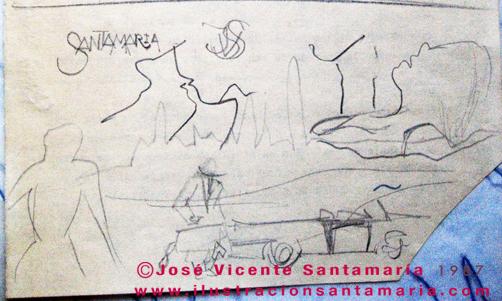 A MAL TIEMPO Dibujo fina ilustración tradicional © Jose Vicente Santamaria Valencia Spain
