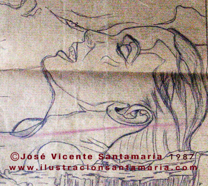Dibujo 03 lápiz lustracion A MAL TIEMPO 1985 © Jose Vicente Santamaria Valencia Spain.