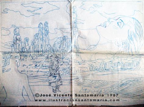 A MAL TIEMPO Plantilla dibujo final ilustración tradicional © Jose Vicente Santamaria Valencia Spain