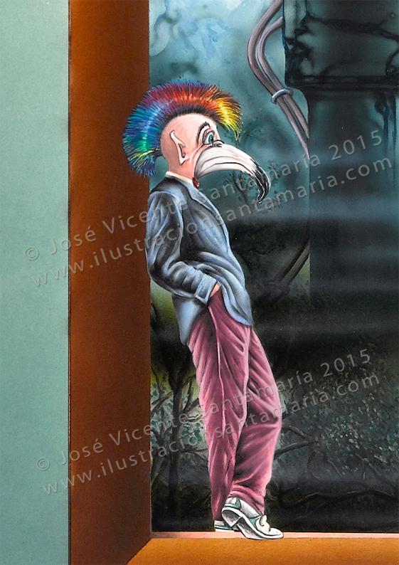 Detalle del ser antropomorfo de la ilustración Pasado, Presente y futuro © José Vicente Santamaría – Valencia – Spain