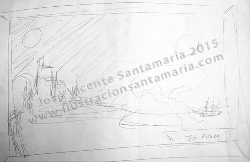 Boceto ilustración Pasado, presente y futuro. Grafito y rotulador  © José Vicente Santamaría – Valencia – Spain