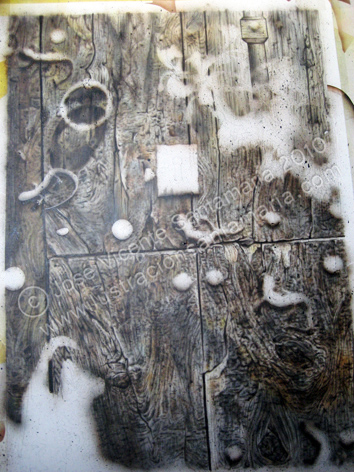 Puerta 01 Manchado y guías de las cicatrices de la madera 2010 © José Vicente Santamaría – Valencia - Spain