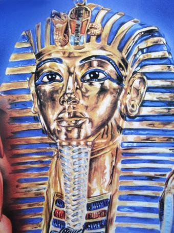 Mascara de Tutankhamon. 21 x 16 Gouache. 1989 &copy Jose Vicente Santamaria
