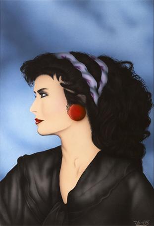 Mujer con turbante. 63 x 44 Gouache, anilinas y tintas aerográficas. 1985 © Jose Vicente Santamaria