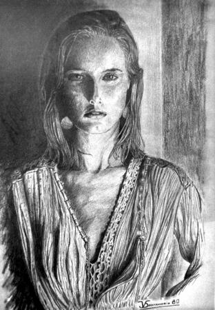 Mujer en B/N 01. 31 x 22 Lápices de grafito Staedtler Moris HB 1, 2 y 3. 1980 &copy Jose Vicente Santamaria