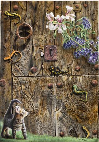 Puerta 01. 63 x 44 Gouache, anilinas,lápices de color polychromos y tintas aerográficas. 2010 &copy Jose Vicente Santamaria