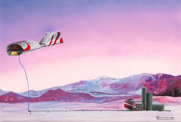 Repostando 62 x 42 Gouache y tintas aerograficas. 1982 &copy Jose Vicente Santamaria
