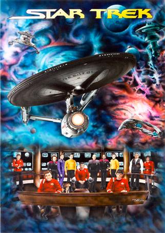 Star Trek Capitanes 65 x 45 Gouache, anilinas y tintas aerográficas. 2010 &copy Jose Vicente Santamaria