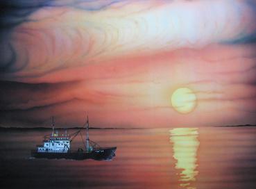 Volviendo de la pesca. 70 x 50 Gouache y tintas aerográficas. 1989 &copy Jose Vicente Santamaria