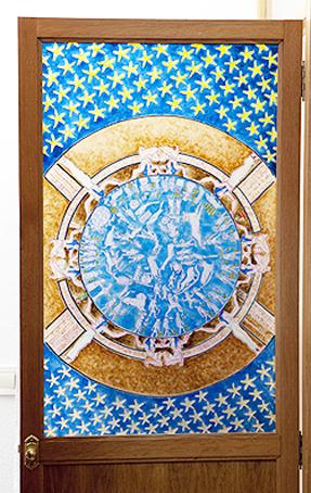 Zodiaco de Dendera. 86 x 52 Tintas para cristal. 2008 &copy Jose Vicente Santamaria